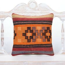 Orange Embroidered Kilim Pillow 16x16 Anatolian Home Decor Sofa Throw