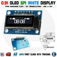 "7PIN SPI 0.91"" Inch White 128x32 OLED LCD Display Screen SSD1306 For Arduino R3"