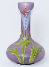VASE VERRE  EMAILLE LYS  ART NOUVEAU ANTIQUE FRENCH HAND ENAMELLED GLASS
