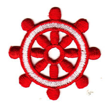Ship's Wheel Red & White Iron On Patch Ocean Nautical Boat