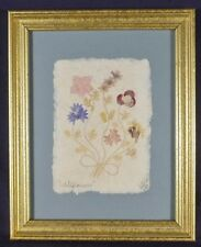 """Wildflowers"" Framed Pressed Flowers on Paper signed by Interia Vintage 1995"