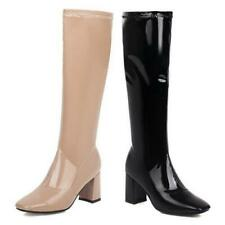 Woman Motorcycle Casual Knee-High Square Toe Boots Patent Leather Shoes 44/49 L