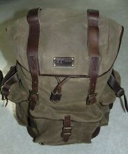 NWOT  Vtg.  LL BEAN  Canvas Leather Drawstring  Backpack