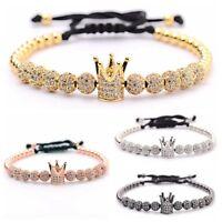Fashion Micro Pave Beaded Crown 10Pcs Balls Hand-Woven Men Women Bracelets Gift