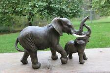 Elephant Figurine with Baby African Jungle Animals Resin Ornament Elephants