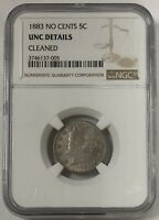 1883 No Cents Liberty Head Nickel 5C NGC UNC Details