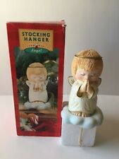 Vintage Hallmark Praying Angel Christmas Stocking Hanger Holder w/Original Box
