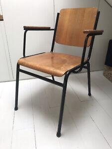 Vintage Wooden School Chair Retro Mid Century Style