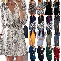 Womens Summer Casual Short Mini Shirt Dress Kaftan Tunic Sundress Blouse Tops