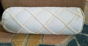 "Waterford Regan Light Blue Beige Neck Roll Bolster Trim Accentsd 15"" L"