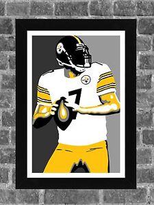 Pittsburgh Steelers Ben Roethlisberger Portrait Sports Print Art 11x17