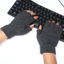 Wool Knit Fingerless Gloves for Men Women Warm Winter Mittens Half Finger Gloves