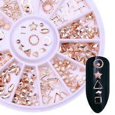 Rose Gold Rivet Alloy 3D Nail Art Decoration in Wheel Nail Studs Star Round DIY