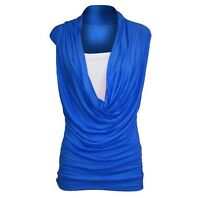 WOMENS LADIES RUCHED 2 IN 1 COWL NECK SLEEVELESS VEST T SHIRT TOP PLUS SIZE 8-22