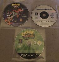 Crash Bandicoot PS1 & PS2 3 Game Bundle (Playstation 1 & 2) Discs Only