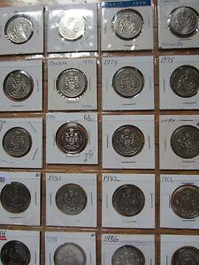 Complete Set of Canada Half Dollars Coins (1968-1987). UNC
