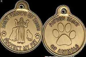 "Saint Francis Protect My Pet Patron Saint Of Pets Dog Tag 1"" Charm Bronze"