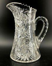 "Vintage Heavy 6 lb Brilliant Cut Crystal Glass Pitcher Pinwheels 10.25"" Sawtooth"