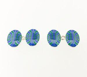 Deakin & Francis Sterling Silver Blue & Green Enamel Cufflinks