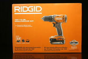 RIDGID 18V Cordless 1/2 in. Drill/Driver Kit with (1) 2.0 Ah Battery and Charger