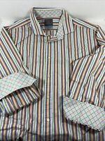 Thomas Dean Mens XL Green Orange White Striped Long Sleeve Shirt Flip Cuffs
