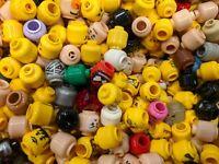 100% GENUINE LEGO Lot Of 20 Minifigure Heads Minifig Bulk Mixed Various Flesh