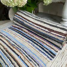 Rag Rug textile European vintage hallway carpet hand woven  Antique