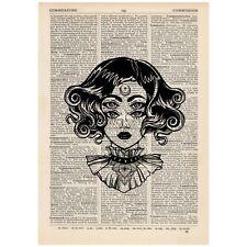 Surreal Moon Eyes Steampunk Dictionary Print OOAK, Mystic, Art, Unique, Gift,