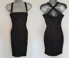 New LIPSY Black Square Neck Heavy Lace Cross Back Bandage Bodycon Dress 10 12