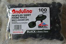 Pack of 100 Genuine ONDULINE Profiled Sheet Fixing Nails & Washer Caps BLACK