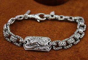 "SARDA Bali Pebble ""Dragon"" Link Bracelet Lobster Clasp Sterling Silver 7 1/4"""