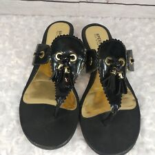 sperry womens flip flop sandal black and gold leather wedge heel size 8