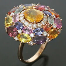 2000s Multicolor Natural Sapphire Diamond 18k Rose Gold Ring