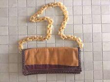 BD 503 Water Snake Calf Camel & Brown Shoulder Clutch Handbag Lucite Link Chain