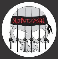 "SALTWATER SOUL Decal Warrior 6"" Round Vinyl Decal Ocean Sticker Fishing Decal"
