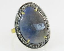 Genuine Sapphire & Rose Cut Diamond 18k Gold 925 Silver Victorian Dinner Ring