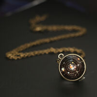 Solar System Necklace Pendant Planet Necklace Galaxy S Double Sided Glass Dome
