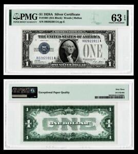 1928-A $1 SILVER CERTIFICATE NOTE~~FR.#1601 (HA BLOCK) PMG CH UNC 63EPQ