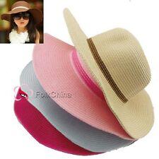 Lovely Girls Kids Children Summer Straw Sun Hat Foldable Beach Wide Brim Hat Cap