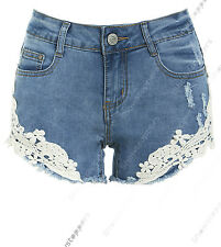 NEW Womens Size 6 8 10 12 14 DENIM SHORTS Ladies Lace Blue Jean HOTPANTS Short