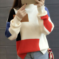 Women's Contrast Color Pullover Jumper Long Sleeve Knitted Tops Sweater E&F
