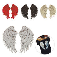 1 Pair Angel Wing Applique Sequins Embroidered Patches Adhesive DIY Sew Stickers