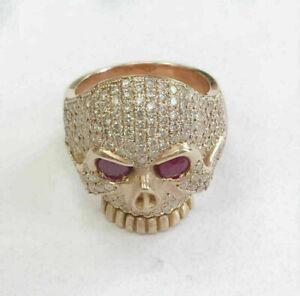 Men's 2.5Ct Ruby Round Diamond Halloween Unique Ring 14K Yellow Gold Finish