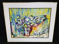 Beverly Hallam Original Oil Monotype & Pastel on Rice Paper Spring Bouquet 1968