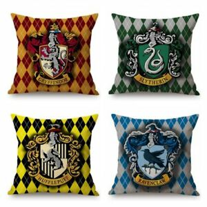 Harry Potter Geometric Plaids Checks Hogwarts Gryffindor Slytherin Cushion Cover