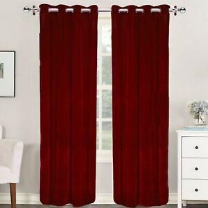 Solid Velvet 2Pc Curtain / Drapes Grommet Panel Room Darkening Door / Window