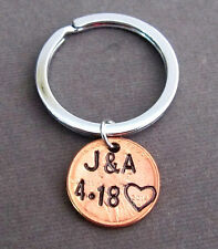 Hand Stamped Penny Keychain,Husband Wife Key Chain,Anniversary gift,Couples gift