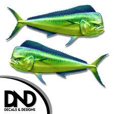 "Mahi Mahi - Fish Decal Fishing Hunting Bumper Sticker ""5in SET"" F-0390 D&"