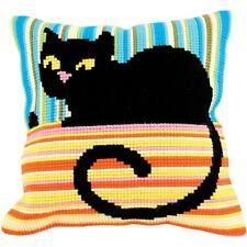 "Cross Stitch on Stamped Canvas with Yarn. Madame Cool Cat 15-3/4"" x 15-3/4"""