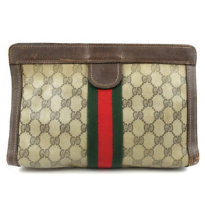 GUCCI Old Gucci GG pattern sherry line clutch bag